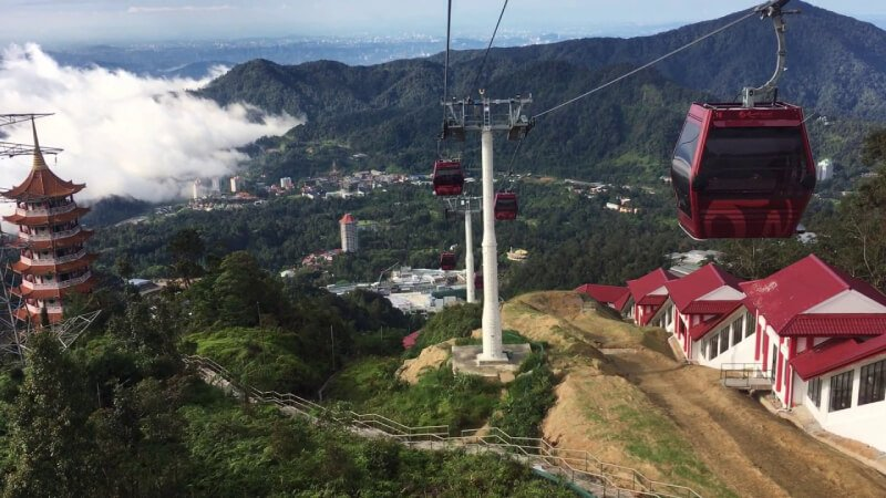 Genting Skyway from Genting Highlands in Malaysia